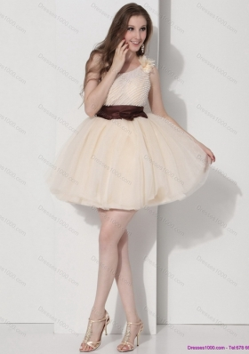 One Shoulder Champagne Prom Dresses with Hand Made Flower