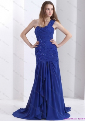 Pretty 2015 One Shoulder Prom Dress with Ruching and Beading