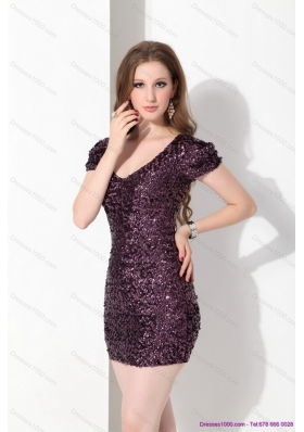 Sexy 2015 Luxurious V Neck Mini Length Prom Dress with Sequins