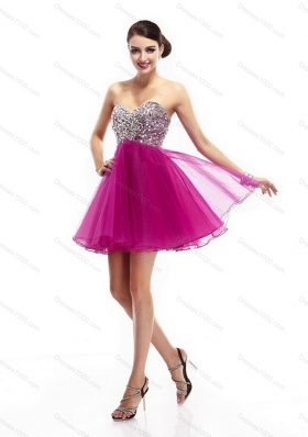 Sexy Fuchsia Sweetheart Prom Dresses with Rhinestone
