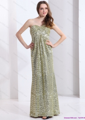 Sexy One Shoulder Floor Length Sequined Prom Dress for 2015