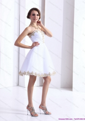 Sexy White Sweetheart Beaing Prom Gown with Appliques