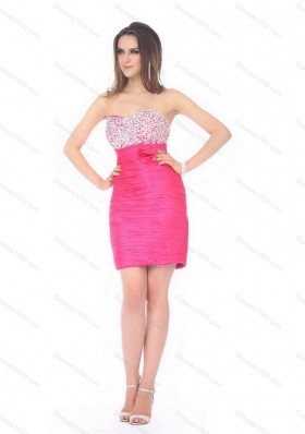 Short Delicate Sweetheart Beading and Ruching Prom Dress for 2015