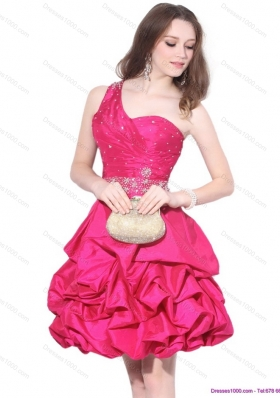 Short Perfect One Shoulder Beading Prom Dress with Pick Ups