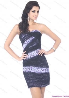 Sophisticated Mini Length Strapless Leopard Prom Dress for 2015