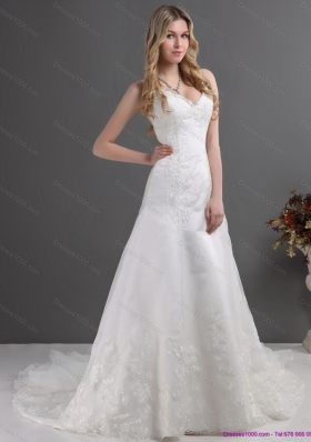 2015 Perfect Lace Wedding Dress with Spaghetti Straps