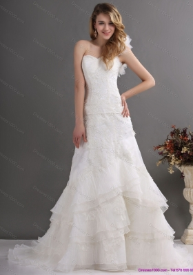 2015 Perfect One Shoulder Wedding Dress with Lace