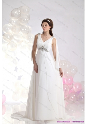 2015 Perfect V Neck Wedding Dress with Beading and Ruching