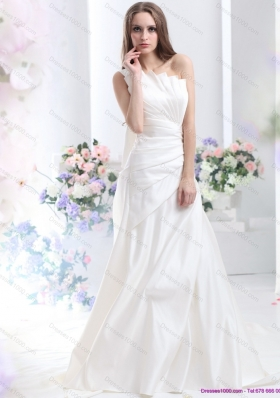 Cheap Pleated One Shoulder White Wedding Dresses with Brush Train