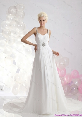 Perfect 2015 Empire Wedding Dress with Ruching and Beading