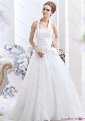 Perfect 2015 Halter Top Wedding Dress with Ruching and Hand Made Flowers