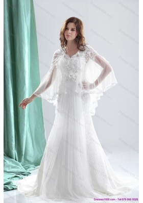 Perfect 2015 V Neck Wedding Dresses with Beading and and Ruching