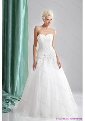 2015 Cheap Sweetheart Beaded Wedding Dresses in White