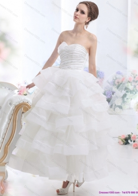 2015 Cheap White Wedding Dresses with Ruffled Layers and Beading