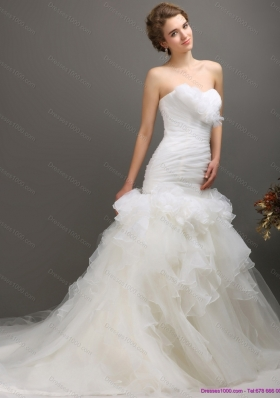 2015 Classical Sweetheart Wedding Dress with Ruching and Ruffles