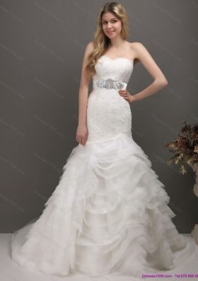 2015 Fashionable Sweetheart Mermaid Wedding Dress with Lace and Appliques