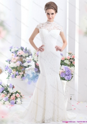 2015 Flirting High Neck Wedding Dress with Mermaid