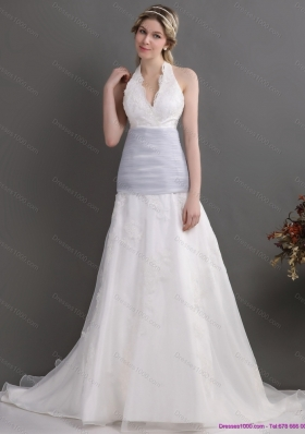 2015 New Style Halter Top Wedding Dress with Lace and Ruching