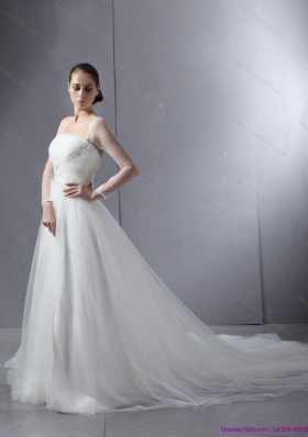 2015 New Style Strapless A Line Wedding Dress with Lace and Ruching