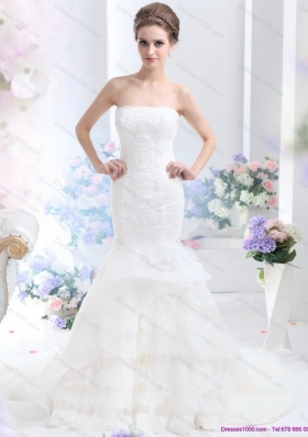 2015 New Style Strapless Wedding Dress with Brush Train