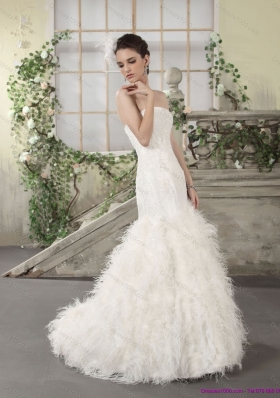 2015 New Style Strapless Wedding Dress with Lace and  Feather