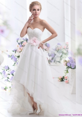 2015 New Style Sweetheart High Low Wedding Dress with Lace and Hand Made Flowers