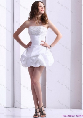 2015 Perfect Strapless Lace Wedding Dress with Mini Length