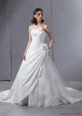 2015 Perfect Strapless Wedding Dress with Hand Made Flowers and Ruching