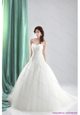 2015 Perfect Sweetheart A Line Wedding Dress with Appliques