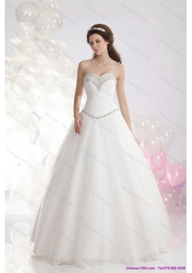 2015 Perfect Sweetheart A Line Wedding Dress with Beadings