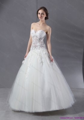 2015 Perfect Sweetheart Lace Wedding Dress with Floor Length