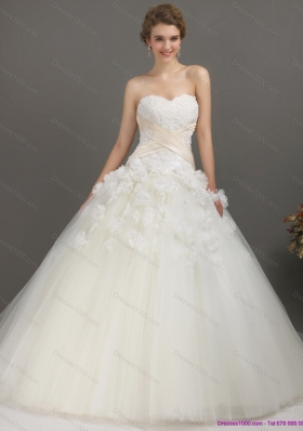 2015 Perfect Sweetheart Wedding Dress with Appliques
