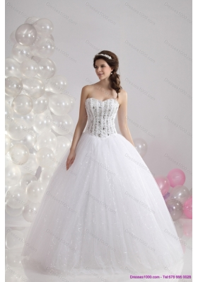 2015 Perfect Sweetheart Wedding Dress with Beading