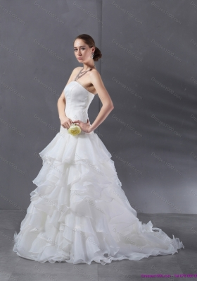 2015 Popular A Line Strapless Wedding Dress with Ruffles