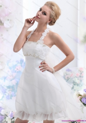 Cheap Halter Top Laced Bridal Gowns in White