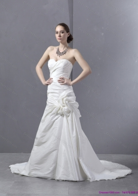Cheap Ruffled Sweetheart Ruched White Wedding Dresses with Brush Train