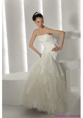 Cheap Strapless Ruffles and Appliques White Wedding Dresses for 2015