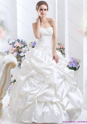 Cheap White Brush Train Bridal Dresses with Pick Ups and Sequins