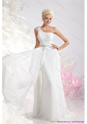Cheap White One Shoulder Wedding Dresses with Ruching and Beading
