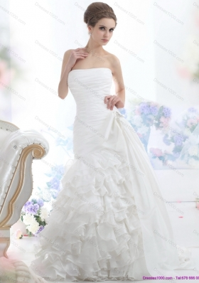 Cheap White Strapless Bridal Gowns with Ruffled Layers and Brush Train