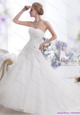 Cheap White Strapless Wedding Dresses with Sequins and Brush Train
