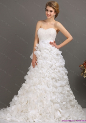 Cheap White Sweep Train Ruffled Wedding Dresses with Beading