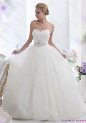 Cheap White Sweetheart Wedding Dresses with Hand Made Flowers