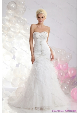 Feminine Sweetheart Wedding Dress with Appliques and Ruffles for 2015