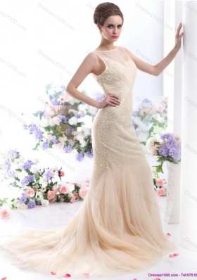 Gorgeous 2015 Scoop Wedding Dress with Beadings