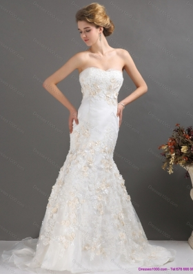 2015 Classical Sweetheart Mermaid Wedding Dress with Beading and Appliques