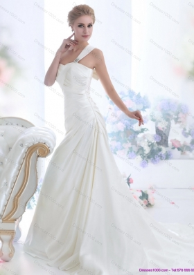 2015 One Shoulder Wedding Dresses with Ruching and Bowknot