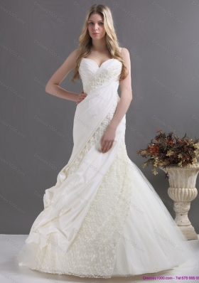 A Line Wedding Dress with Ruching and Lace for 2015