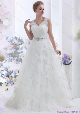 New Style Brush Train White Wedding Dresses with Lace and Beading