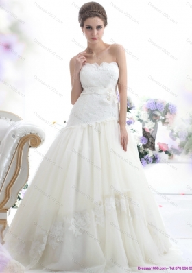 New Style Ruffled White Strapless Wedding Dresses with Sash and Bownot